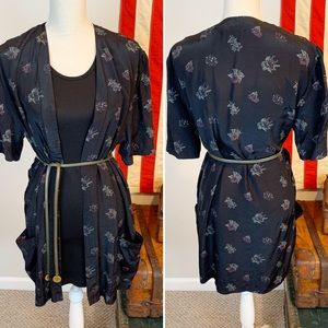 VTG Silky Floral Open Front Cover Up Robe